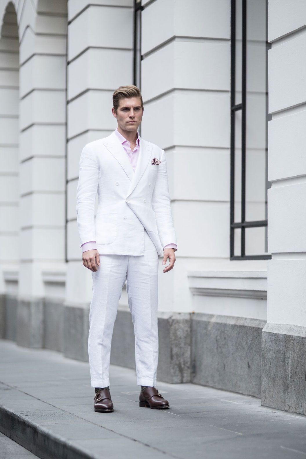 475f24bcad White Linen Double Breasted Suit Sam Wines - Carl Navè - Online Store