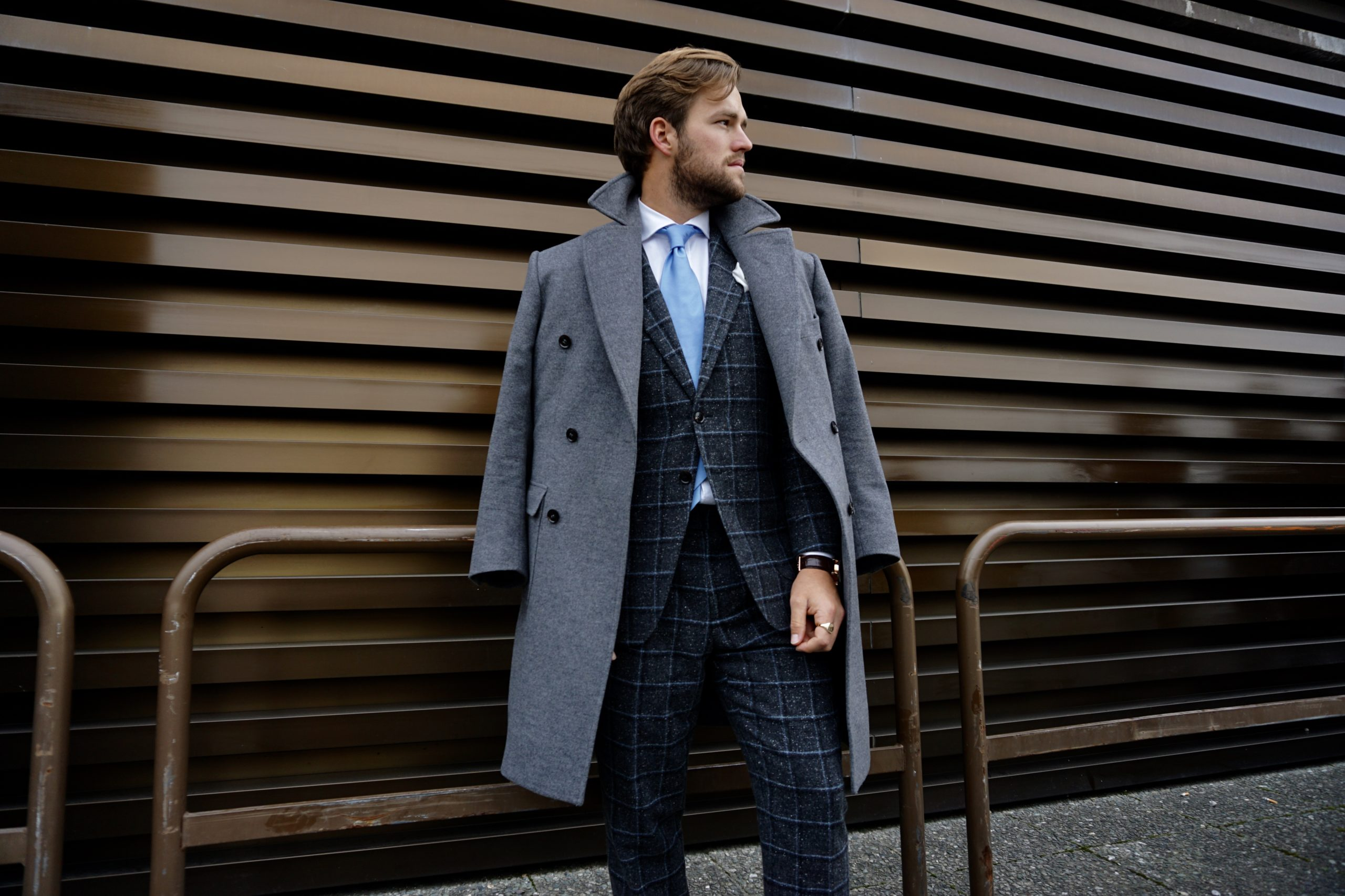 Pitti uomo checkered suit blue tie trench coat style man