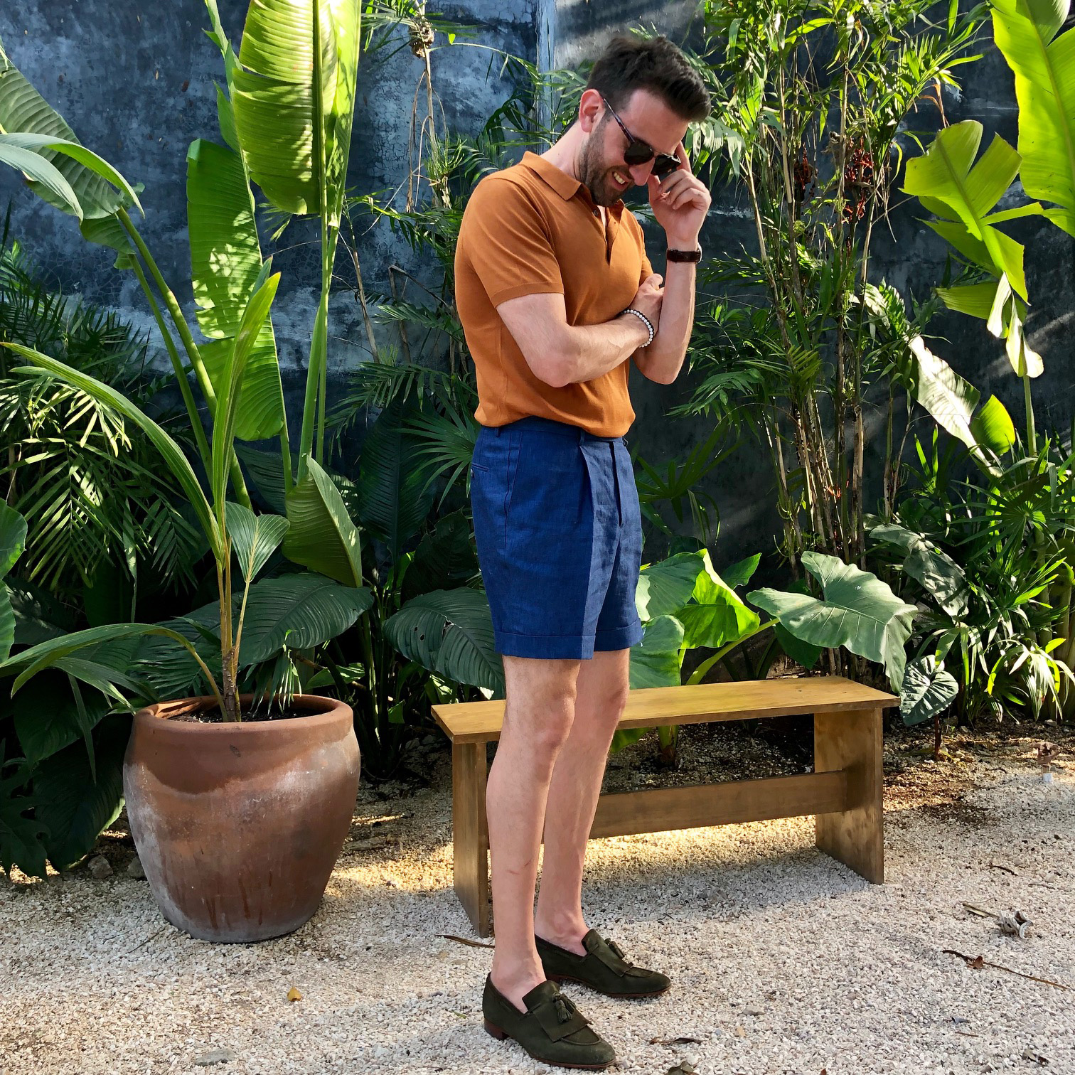 Carl Nave Tailored Tulum Navy Linen Shorts Cotton Terracota Polo Bespoke