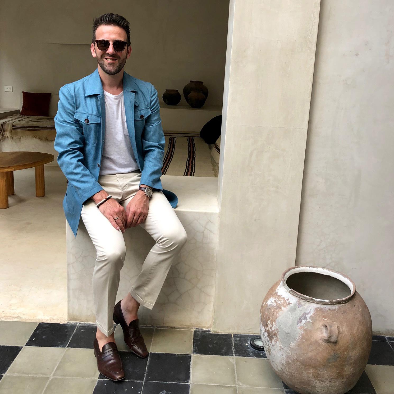 Carl Nave Tailored Tulum Turquoise Blazer Cotton Bespoke Chinos