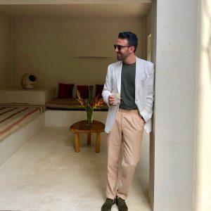 Carl Nave Tailored Tulum White Blazer Dormeuil Linen Bespoke Trousers