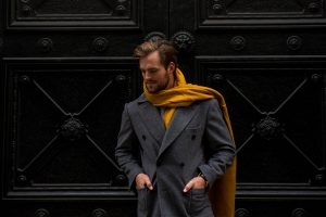 Grey Overcoat Carl Nave Yellow Scarf